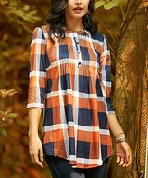Reborn Collection Women's Tunics Orange - Orange & Navy Plaid Pin Tuck Notch Neck Tunic - Women & Plus