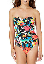 Anne Cole Growing Floral Twist Front Bandeau One Piece