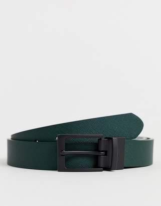 Asos Design DESIGN Wedding faux leather slim reversible belt in green and gray saffiano and matte black buckle