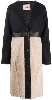 Plan C Colour-Block Shearling Coat