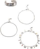 Carole Stainless Steel & Bright Anklet & Toe Ring Set