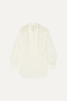 Chloé Pintucked Linen-trimmed Lace Blouse - White