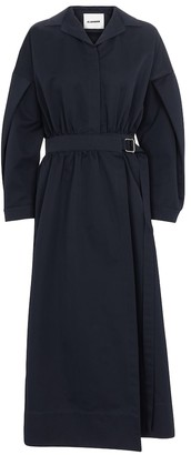 Jil Sander Belted cotton-blend midi dress