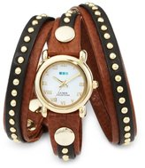 La Mer Women's LMSW3001 Gold-Tone Watch with Brown Leather Wrap-Around Band