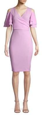 Quiz Cold-Shoulder Surplice Midi Dress