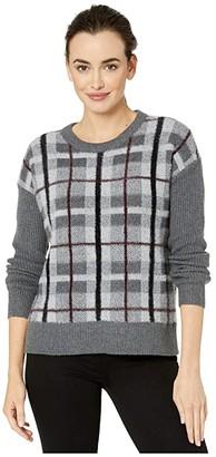 Vince Camuto Long Sleeve Plaid Short Eyelash Sweater (Medium Heather Grey) Women's Sweater