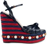 Gucci Metallic leather knot espadrille