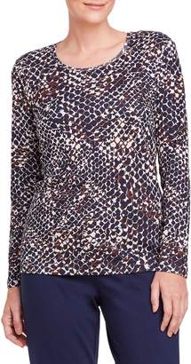 Olsen Rustic Luxury Snakeskin-Print Long-Sleeve Tee