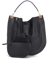 Diane von Furstenberg Women's Moon Calf Hair/Leather Large Hobo Bag Black