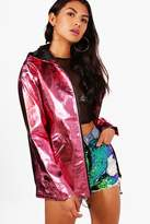 boohoo Isabel Metallic Hooded Mac