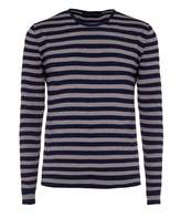 Nigel Hall Navy And Pebble Striped Crew Neck Sweater (morton)