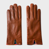 Paul Smith Women's Brown Lambskin 'Artist Stripe' Trim Gloves