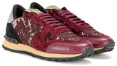 Valentino Rockrunner Lace, Leather And Suede Sneakers