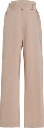 Low Classic Belted Linen-Blend Wide-Leg Pants