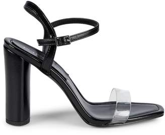 BCBGeneration Ilsie Shiny Leather & PVC Block-Heel Sandals