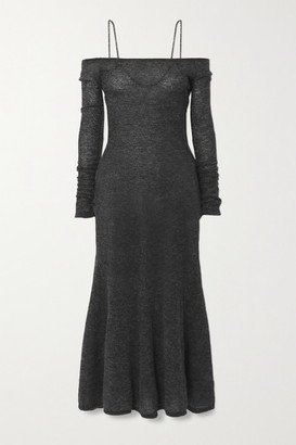 Jacquemus Maille Lauris Cold-shoulder Embroidered Mohair-blend Midi Dress - Dark gray