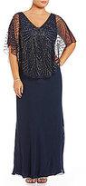 J Kara Plus V-Neck Beaded Capelet Gown