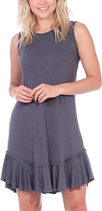 Brooke & Emma Women's Casual Dresses SLATE - Slate Ruffle-Hem Sleeveless Dress - Women & Plus