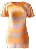 Classic Women's Petite Shaped Cotton Crewneck T-shirt-Soft Tangelo Stripe