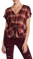 Lucky Brand Plaid Tie Front Tee