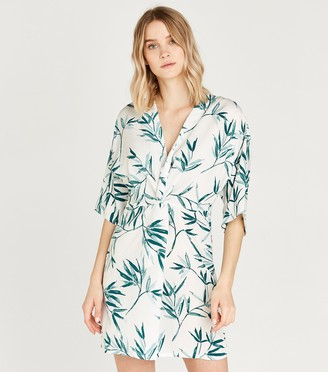 New Look Leaf Print Kimono Dress