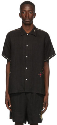 Bode SSENSE Exclusive Black Linen Embroidery Short Sleeve Shirt