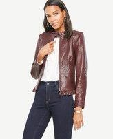 Ann Taylor Ruffle Leather Moto Jacket