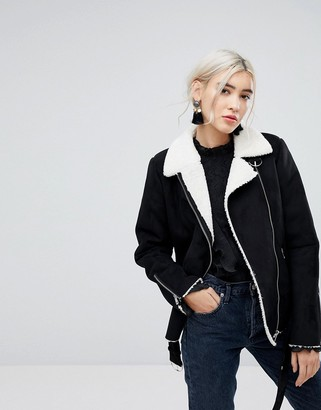 Vila aviator jacket with shearling lining