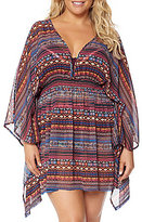 Jessica Simpson Cherokee Queen Plus Size Open Back Chiffon Tunic Cover-Up