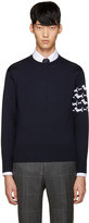 Thom Browne Navy Hector Arm Band Pullover