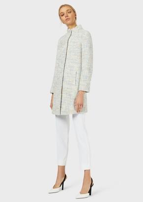 Emporio Armani Tweed Overcoat With Lurex Yarn