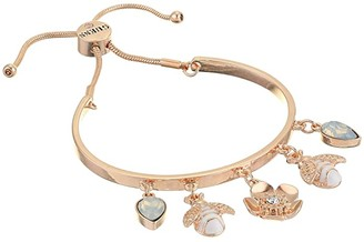 GUESS Slider Bangle with Charms (Rose Gold) Bracelet
