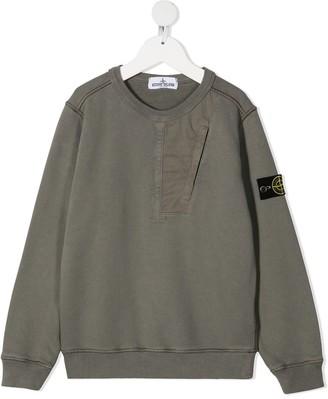 Stone Island Junior Logo-Patch Cotton Sweatshirt