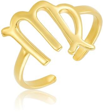 Sterling Forever 14K Gold Vermeil Plated Sterling Silver Adjustable Zodiac Ring - Virgo