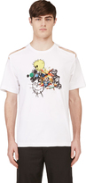 Comme des Garcons White Slashed Short Sleeve Graphic T-Shirt