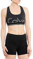 Calvin Klein Large Outline Logo Racerback Sports Bra