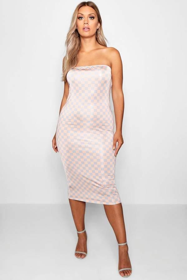 boohoo Plus Nude Check Bandeau Midi Dress