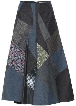 Junya Watanabe High-rise patchwork cotton midi skirt