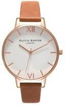 Olivia Burton Big Dial Leather Strap Watch, 38mm
