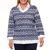 Alfred Dunner Montego BayLong Sleeve Layered Sweater-Plus