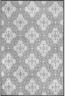 "Red Barrel Studioâ® Raeburn Damask Gray/White Indoor / Outdoor Use Area Rug Red Barrel StudioA Rug Size: Rectangle 7'10"" W x 10' L"
