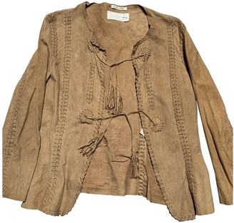 Cycle Beige Leather Jacket for Women