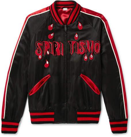 Gucci Spiritismo Embellished Satin Bomber Jacket