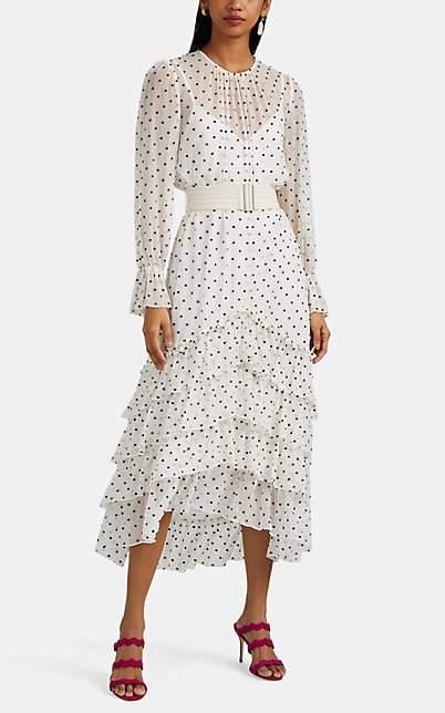 Zimmermann Women's Embroidered-Polka-Dot Silk Chiffon High-Low Dress - Brown