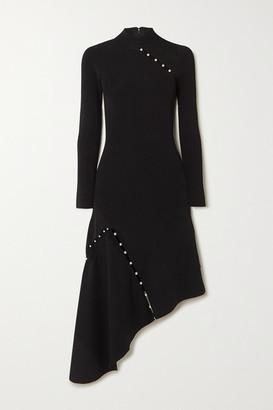 Alice + Olivia Kam Asymmetric Faux Pearl-embellished Stretch-cady Dress - Black