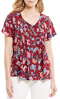 Lucky Brand Lace-Up Neck Floral Print Short Sleeve Woven Peasant Top