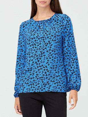Very Printed Round Neck Long Sleeve Shell Top - Print