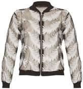 Closet *Tenki Black Feather Print Bomber Jacket