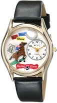 Whimsical Watches Kids' C0810007 Classic Horse Racing Black Leather And tone Watch