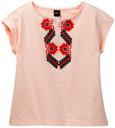 Tea Collection Embroidered Notch Neck Top (Toddler, Little Girls, & Big Girls)